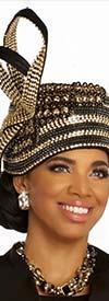 Donna Vinci 11853H Womens Church Hat In Ribbon And Rhinestone Design