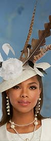 Donna Vinci 5666F Womens Fascinator Hat With Feathers And Fabric Flower Design