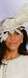 Donna Vinci 5667F Ladies Fascinator Hat With Fabric Flower And Feathers Design