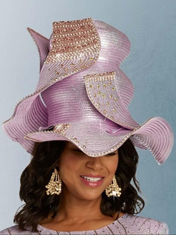 Donna Vinci 5674H  Gold Stone Embellished Womens Dress Hat