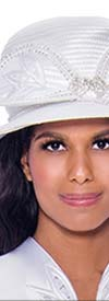 GMI-8052H-White - Womens Hat With Embellished Bow Design