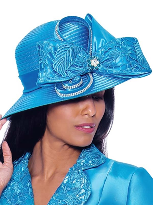 GMI-7932H - Womens Embellished Hat With Ribbon Bow Detail
