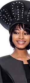 Terramina 7862H-Black - Wide Crown Brimless Womens Church Hat