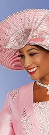 Ben Marc 48338H - Ladies Pink Church Hat With Rhinestones