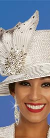 Ben Marc 48388H - Rhinestone Detailed Church Hat With Petal Style Adornment