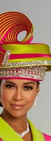 Donna Vinci 11845H Embellished Womens Two Tone Design Hat With Swirl Adornment