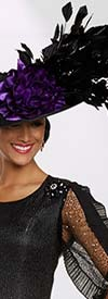 Donna Vinci 11891F Womens Fascinator Hat With Feather And Satin Adornment