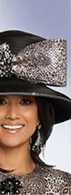 Donna Vinci 5658H Womens Church Hat With Embellished Rhinestone Accents & Animal Print Bow