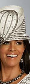 Donna Vinci 5665H Womens Narrow Brim Church Hat With Embellished Rhinestone Accents