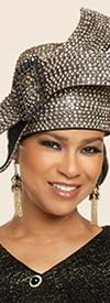 Donna Vinci 5699H Brimless Ladies Church Crown Hat Encrusted With Rhinestones
