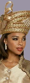 Donna Vinci 5703H Womens Church Crown Hat With Rhinestones And Ribbon Bow Design