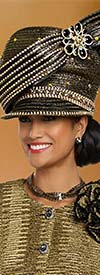 Donna Vinci 5708H Embellished Gold Church Hat