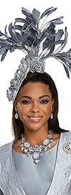 Donna Vinci 5728F Womens Fascinator Hat With Flower And Feather Adornments