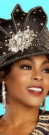 Ben Marc 48309H - Womens Black / Gold Church Hat with Rhinestones