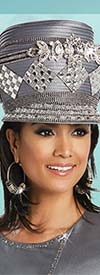 Donna Vinci 11757H Womens Rhinestone Embellished Gray Church Hat