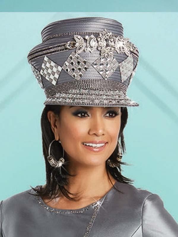 Donna Vinci 11757H Womens Rhinestone Embellished Gray Church Hat