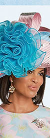 Donna Vinci 11762H Light Pink Light Blue Hat with Bow Flower and Rhinestone Studs