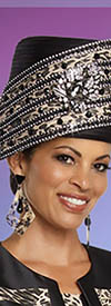 Donna Vinci 11782H Black/Beige Church Hat