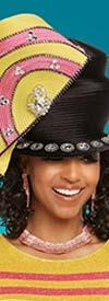 Donna Vinci 13232H Black / Yellow / Rose Church Hat Embellished With Rhinestones