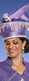 Donna Vinci 13243H Purple Church Hat Embellished With Rhinestone Fringes