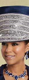 Donna Vinci 13247H Womens Rhinestone Encrusted Navy Blue Church Hat