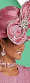 Donna Vinci 13251H Bow Feature Orchid Color Church Hat Embellished With Rhinestones