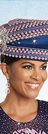 Donna Vinci 13255H Rhinestone & Pearl Embellished Navy / Pink Womens Hat