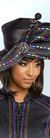 Donna Vinci 13262H Midnight Blue with Jeweled Bead Details Church Hat