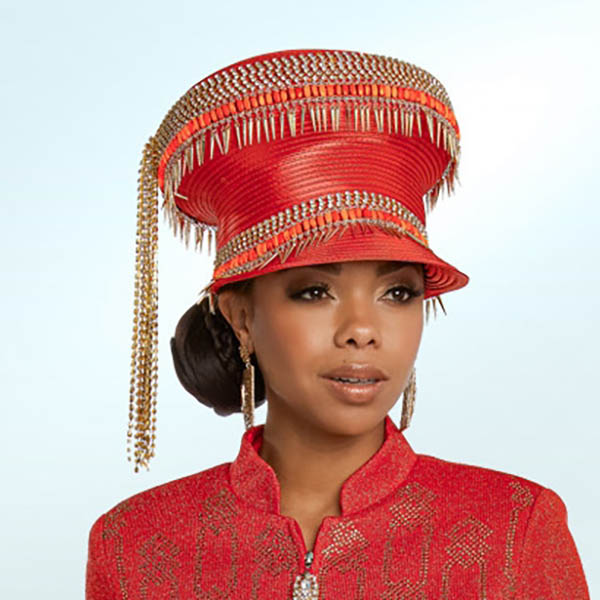 Donna Vinci 13265H Red Orange Church Hat