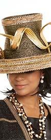Donna Vinci 5604H Rhinestone Trimmed Black / Gold Womens Hat