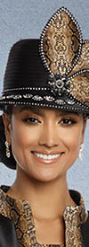 Donna Vinci 5635H Black and Python Church Hat