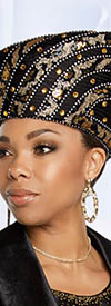 Donna Vinci 5642H Black/Gold Church Hat