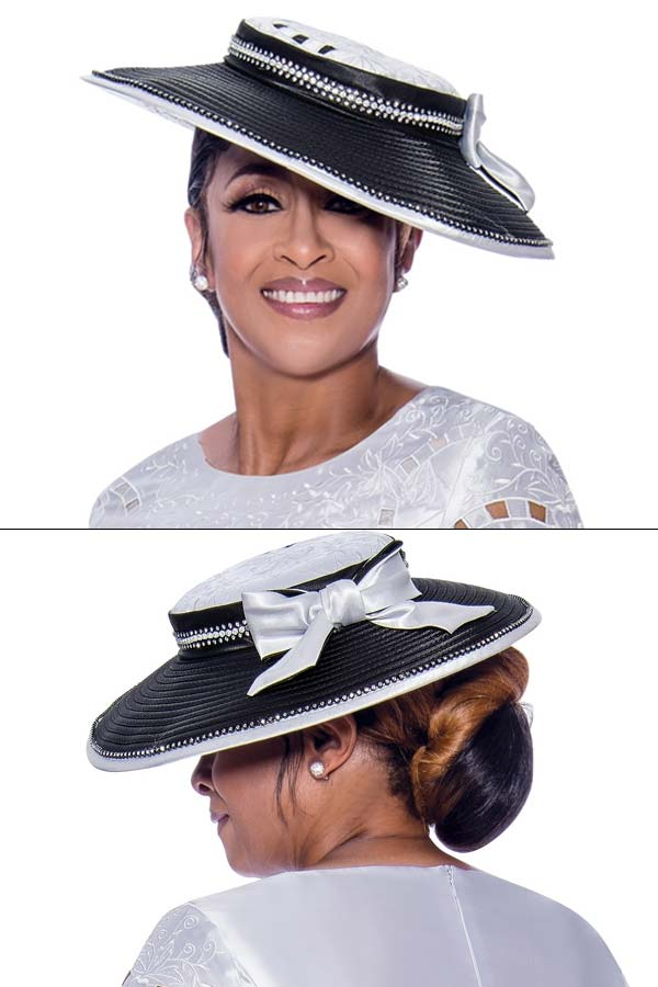 DCC - DCC2551H Womens White / Black Church Hat With Rhinestones And Bow