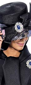 GMI-6542H - Black Multi Print Hat With Brooch Style Embellishement