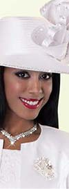 Tally Taylor 4529H White Church Hat With Rhinestones