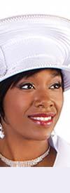 Tally Taylor 4583H Womens White Church Hat With Rhinestone Trim