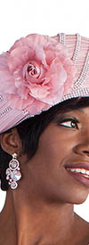 Tally Taylor 4584H Blush Hat With Rhinestones and Flower