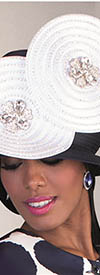 Tally Taylor 4623H Navy White Hat With Rhinestones