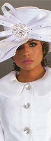 Tally Taylor 4625H Wide Brim White Church Hat With Rhinestones