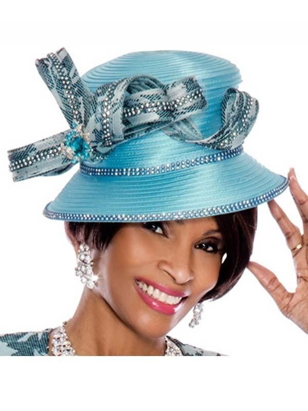 Terramina 7487H Turquoise Womens Hat With Embellished Ribbon