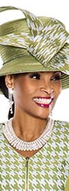 Terramina 7526H Pistachio Color And Houndstooth Print Ladies Church Hat
