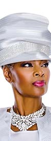 Terramina 7606H Womens Solid White Church Hat Embellished With Rhinestones