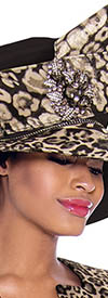 Terramina 7783H Leopard Church Hat with Jewel Detail