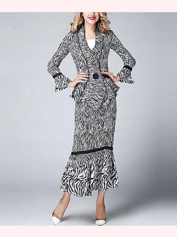 JerryT-SR1388 - Zebra Print Pleated Dress With Ruffled Sleeve Cuffs & Skirt