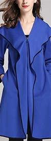 JerryT-SR7201-Sky Blue - Womens Wide Collar Zip-Up Jacket With Pockets
