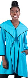 JerryT-SR7201-Turquoise - Womens Wide Collar Zip-Up Jacket With Pockets