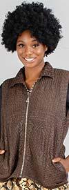 JerryT-SR004 - Pucker Fabric Womens Vest With Rhinestone Zipper
