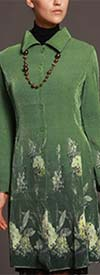 JerryT-SR3380-Green - Womens Button Front Jacket With Floral Print