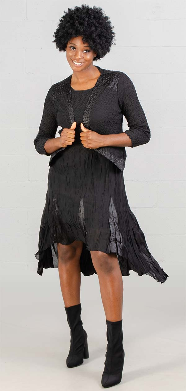 JerryT-SR7047-Black - Sleevless Hi-Lo Dress With Three Quarter Sleeve Jacket