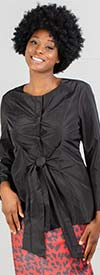 JerryT-SR7178-Black - Bow Accent Ladies Long Sleeve Top